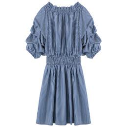 Habitual Girl     Smocked Waist Dress - Blue **PRE-ORDER**
