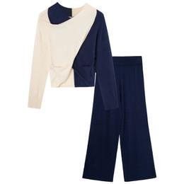 Habitual Girl     Color Block 2pc Top & Pant Set - Navy & Cream **PRE-ORDER**