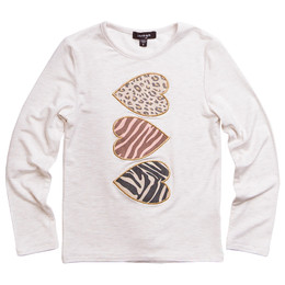Imoga        Ariana Heart Graphic Knit Tee - Oatmeal **PRE-ORDER**