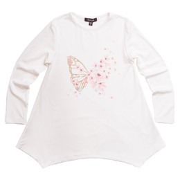 Imoga        Amber Butterfly Embellished Graphic Knit Tunic - Floral Snow **PRE-ORDER**