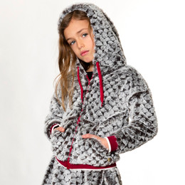 Deux Par Deux      Chic In My Shack Faux Fur Hooded Zippered Jacket **PRE-ORDER**