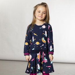 Deux Par Deux      Pompon Planet Jersey Printed Dress **PRE-ORDER**