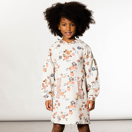 Deux Par Deux      Little House In The Prairies French Terry Hooded Printed Dress