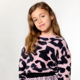 Deux Par Deux      Pinky Blue Animal Printed Sweater **PRE-ORDER**