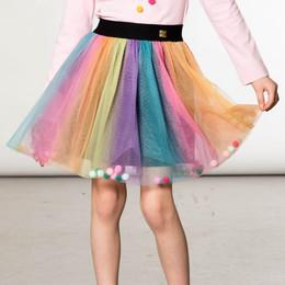 Deux Par Deux      Pompon Planet Rainbow Tulle Skirt w/Pompons **PRE-ORDER**