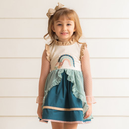 Evie's Closet         Autumn Rainbow 2pc Dress & Mesh Swiss Dot Top Set