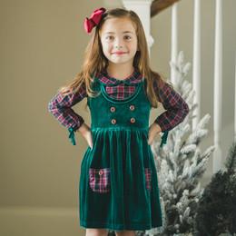 Evie's Closet         Holiday Velvet Plaid 2pc Jumper Dress & Plaid Top Set
