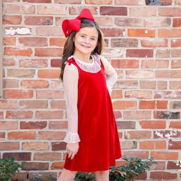 Evie's Closet         Ruby Velvet 2pc Dress & Lace Shirt Set
