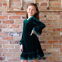 Evie's Closet         Emerald Velvet Dress