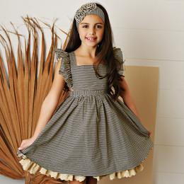 Serendipity Clothing   Paris Chic 2pc Stripe Pinafore Dress & Headband **PRE-ORDER**