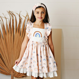 Serendipity Clothing   Over The Rainbow 2pc Rainbow Embroidered Pinafore Dress & Headband **PRE-ORDER**