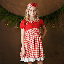 Serendipity Clothing   Holiday Tartan 2pc Tartan Plaid Petal Dress & Headband **PRE-ORDER**