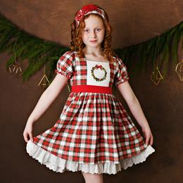 Serendipity Clothing   Holiday Tartan 2pc Tartan Plaid Embroidered Wreath Dress & Headband **PRE-ORDER**