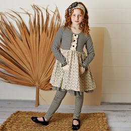 Serendipity Clothing   Paris Chic 3pc Floral & Stripe Pocket Dress, Stripe Legging, & Headband **PRE-ORDER**