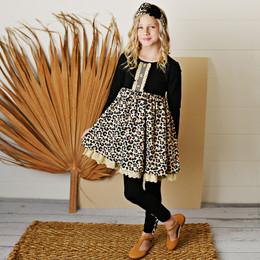 Serendipity Clothing   Paris Chic 3pc Leopard Dress, Solid Legging, & Headband **PRE-ORDER**