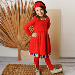 Serendipity Clothing   School Girl 3pc Red Stripe Dress, Solid Legging, & Headband **PRE-ORDER**