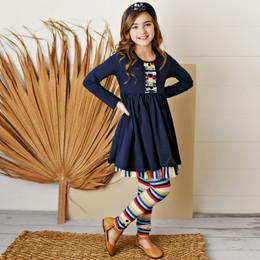 Serendipity Clothing   School Girl 3pc Navy Stripe Dress, Stripe Legging, & Headband **PRE-ORDER**