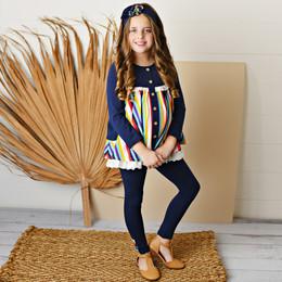Serendipity Clothing   School Girl 3pc Navy Stripe Pocket Tunic, Solid Legging, & Headband **PRE-ORDER**