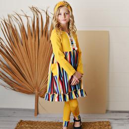 Serendipity Clothing   School Girl 3pc Mustard Stripe Pocket Dress, Solid Legging, & Headband **PRE-ORDER**
