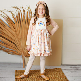 Serendipity Clothing   Over The Rainbow 3pc Rainbow Embroidered Pocket Dress, Solid Legging, & Headband **PRE-ORDER**