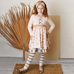 Serendipity Clothing   Over The Rainbow 3pc Rainbow Pocket Dress, Stripe Legging, & Headband **PRE-ORDER**