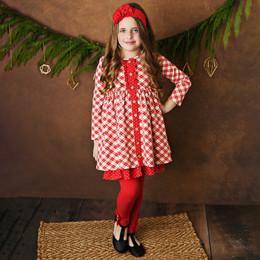 Serendipity Clothing   Holiday Tartan 3pc Tartan Plaid Dress, Solid Legging, & Headband **PRE-ORDER**
