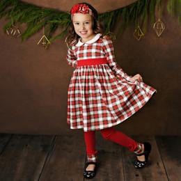Serendipity Clothing   Holiday Tartan 3pc Tartan Plaid Petal Dress, Solid Legging, & Headband **PRE-ORDER**