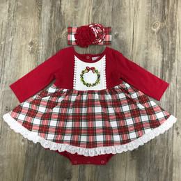 Serendipity Clothing   Holiday Tartan 2pc Tartan Plaid Embroidered Wreath Bubble Dress & Headband **PRE-ORDER**