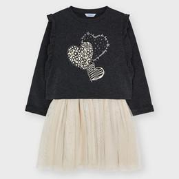 Mayoral      Wild Heart 2pc Layered Dress Set - Black/Gold