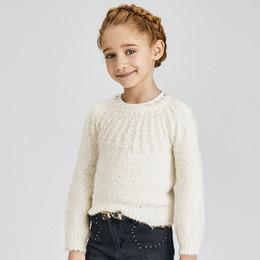 Mayoral      Yoke Neck Slub Knit Sweater - Natural
