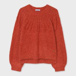 Mayoral      Yoke Neck Slub Knit Sweater - Autumn Orange