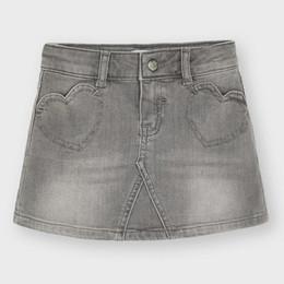 Mayoral      Denim Heart Pocket Skirt - Light Gray