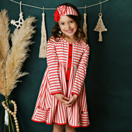 Swoon Baby by Serendipity    Winter Floral Prim Stripe Pocket Dress