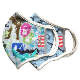 Paper Wings   Double Layer Organic Cotton Jersey Face Masks - 2 Pack Set! - Graffiti & Sharks - Tweens / Adults (8 years & up)