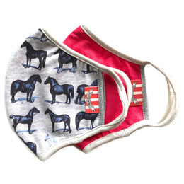 Paper Wings   Double Layer Organic Cotton Jersey Face Masks - 2 Pack Set! - Horses & Watermelon - Tweens / Adults (8 years & up)