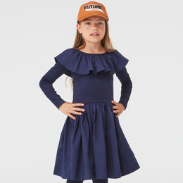 Molo         Cille Organic Knit & Woven Ruffled Collar Dress - Peacoat