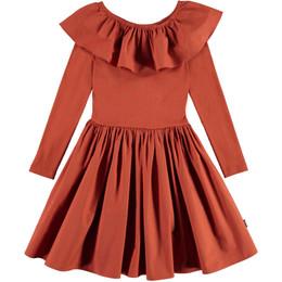 Molo         Cille Organic Knit & Woven Ruffled Collar Dress - Burnt Brick