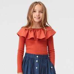 Molo         Renate Organic Knit Ruffled Collar Top - Burnt Brick