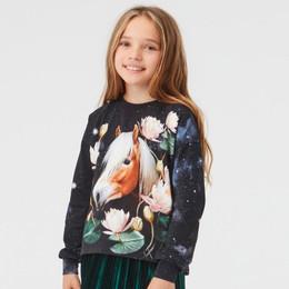 Molo         Reniza Organic Knit Top - Water Lily Horse