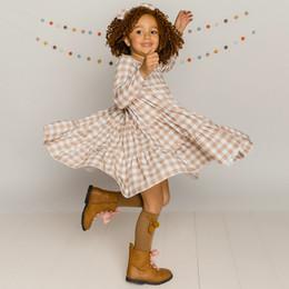 Be Girl Clothing                 Playtime Favorites Maple & Whimsy Garden Twirler Dress - Maple Check