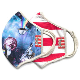 Paper Wings   Double Layer Organic Cotton Jersey Face Masks - 2 Pack Set! - Koalas In Space & Faded Red Stripe - Tweens / Adults (8 years & up)
