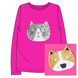 Joules Ava Knit Tee - Reversible Sequin Cat Dog