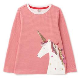 Joules Ava Knit Tee - Stripe Sequin Unicorn **PRE-ORDER**