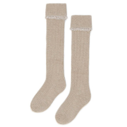 Mayoral       Cable Knit Cuffed Knee Socks - Taupe
