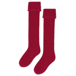 Mayoral       Cable Knit Cuffed Knee Socks - Red