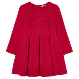 Mayoral       Ottoman Knit Dress w/Ruffled Chest - Red