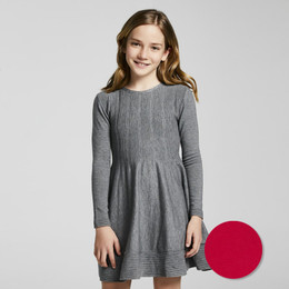 Mayoral       Tricot Knit Dress w/Ribbed Chest & Hem - Red