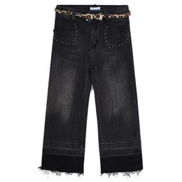 Mayoral       Denim Studded Heart Pocket Jeans w/Leopard Belt - Dark Gray
