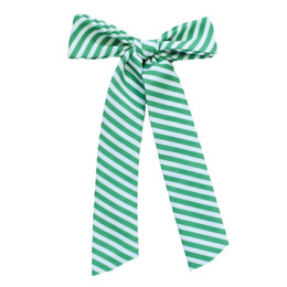 Be Girl Clothing                     Holiday Long Tail Bow - Green Stripes **PRE-ORDER**