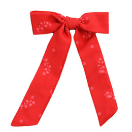 Be Girl Clothing                     Holiday Long Tail Bow - Vintage Red Floral **PRE-ORDER**